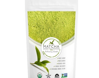 Culinary Matcha High Grade- Pure Matcha Green Tea Powder, USDA Organic, Non-GMO Certified, Vegan and Gluten-Free; Free USA Shipping
