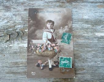 Vintage 1900s recolored French postcard Heureux Anniversaire adorable boy