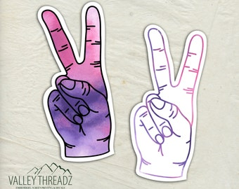 Peace Sign Decal - Peace Sign Vinyl Sticker - Watercolor Peace Decal - Car Window Decal - Hipster Stickers - Laptop Sticker - Tumbler Decal