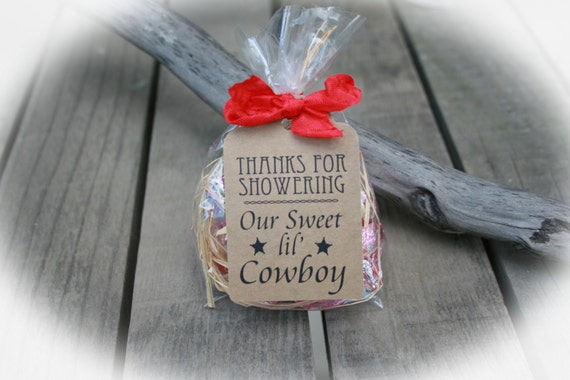 Great Cowboy Baby Shower Favors DIY Bags/Favor Tags W/Ribbon