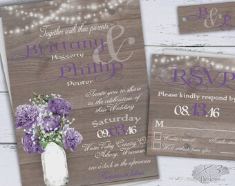 Summer Wedding Invitation, Country Wedding Printable Invite, Rustic Wedding DIY, Purple Peonies & Baby's Breath in Mason Jar, String Lights