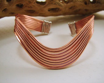 Wavy Copper and Sterling Silver Wired Bracelet - Mixed Metals
