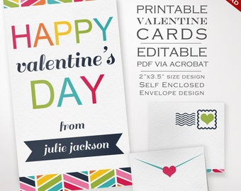 Printable Class Valentines Day Cards - Bunting Valentines Cards - Kids Valentines Cards Class Valentines Day Cards Valentines Day Party Card