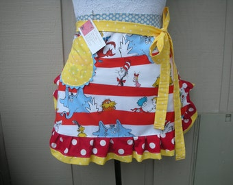 Dr. Seuss Aprons.-.Teachers Gifts - The Cat In The Hat Apron - Reproduction 1957 Dr. Seuss Fabric - Dr. Suess Aprons - Annies Attic Aprons