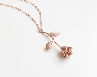Delicate Rose Necklace | Simple Rose Necklace | Dainty Rose Necklace | Beauty and the Beast | Gift for Her | Dainty Necklace