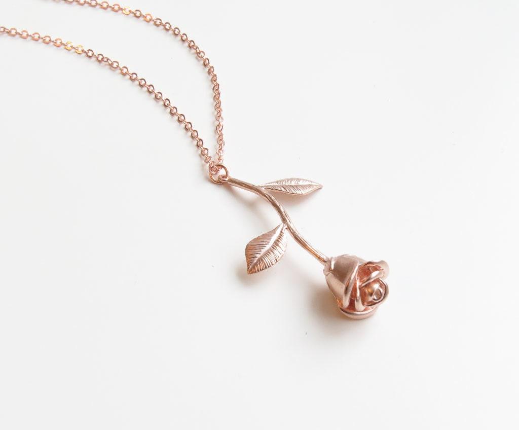 Delicate Rose Gold Rose Necklace