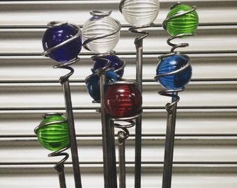 Handmade glass ball shimmer stick - Garden Plant Stakes