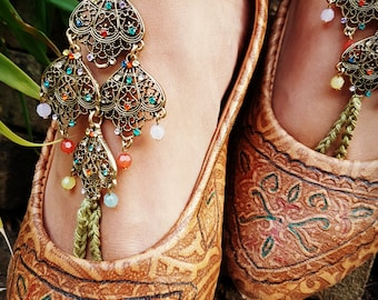 Barefoot Sandals - Handmade boho hippie ankle bracelet - Jewelry for your bare feet -