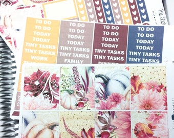Autumn bloom Weekly Kit | Planner Sticker, Weekly Kit, pumpkin Weekly Kit, Vertical Planner Kit, fall weekly kit, floral planner sticker