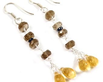 Handmade Solid 925 Sterling Silver Earring Jewelry, Citrine, Smoky quartz, Sapphire Gemstone, Drop/Dangle Earrning, Gift For Wedding, EI-08