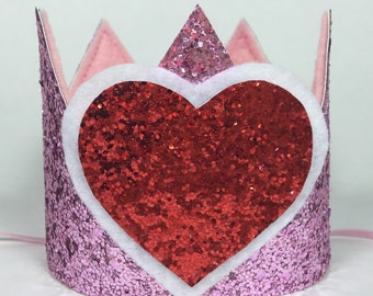 Valentine's Day Crown - Chunky Glitter Crown - Personalized Crown - Queen of Hearts