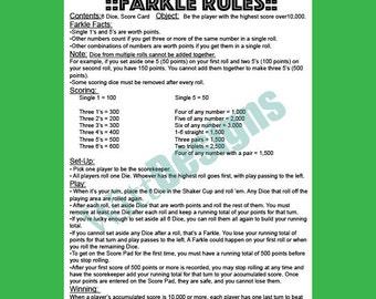PDF 8.5x11 instant download- farkle rules - farkle - yard game - lawn dice - yard dice