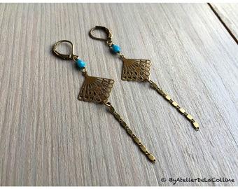 Art deco fan earrings with Czech cristal drop bead