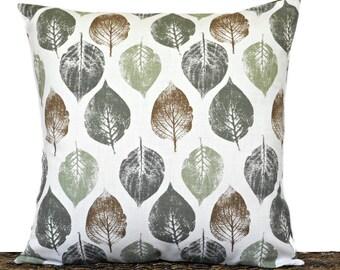 Leaves Pillow Cover Cushion Fall Green Brown Beige Rustic Autumn Decorative Repurposed Fall Decor Thanksgiving Throw Pillow 18x18