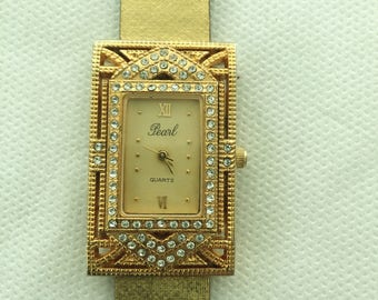 Art Deco Inspired Gold Rhinestone Watch by Pearl