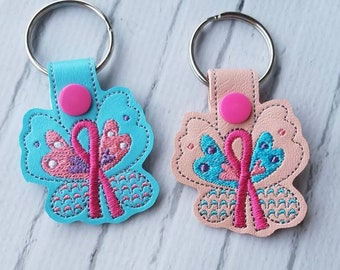 Butterfly Awareness Ribbons Keychain