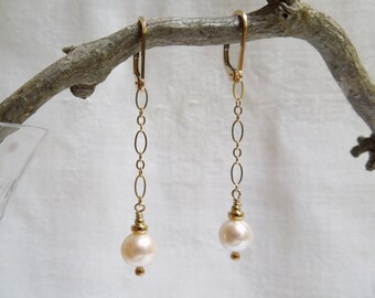 Dancing Pearl Earrings- White Freshwater Pearls- 14K Gold Filled Chain