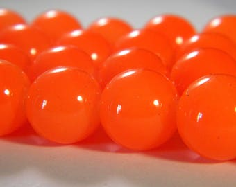 "20 bright glass beads - 10 mm - way ""jade"" - orange neon-PE239-A"