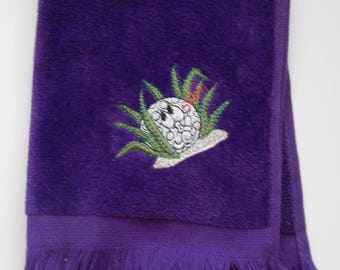 Embroidered Purple Putter Towel, Golf Towel