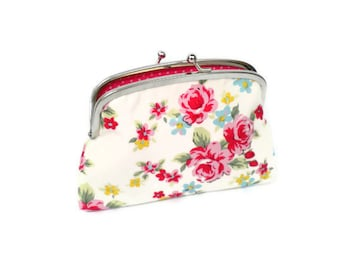 Shabby chic coin purse -double section ditsy rose fabric wallet - cath kidston & Pink polka dots
