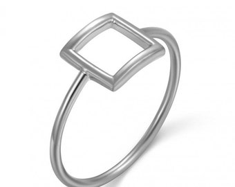 Silver Ring 925 Square hollow.