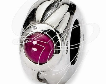 Sterling Silver Reflections Garnet Bead (rb - 390)