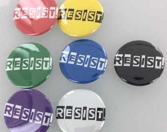 Resist 1.5 in Button Badge, Resist Pinback Button, Magent, Key Chain, Resist Buttons, Multi-Color Button Badges, Resist Button, Resist