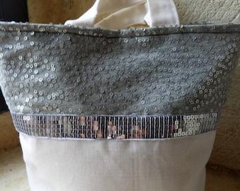 Sac a main en tissu de coton ivoire et tissu à sequins gris et argenté