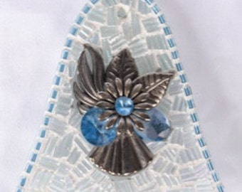 Merry Mosaic Ornament TQM12// Glass Bell Ornament  w Iridescent Textured Clear Stained Glass and Silvertone Bauble w Light Blue Rhinestones