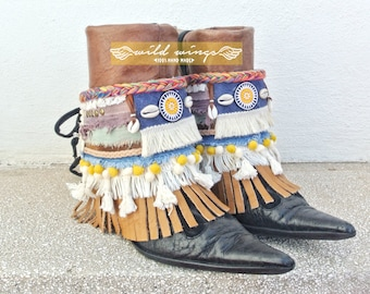 Hmong Boot Cuffs,bohemian boot bracelet,Hippie Bohéme Style Boots Cuffs,Boho boots,Gypsy Cuff Bracelet,Boot decoration,DIY,festival boots