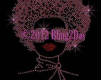 Afro Lady - Hot Pink - Stud Iron on Rhinestone Transfer Bling Hot Fix Girl Women - DIY
