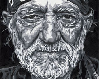 Willie Nelson Original Oil Painting High Quality Print 12x18