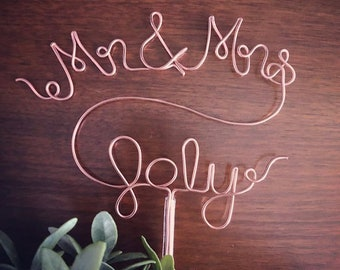 Mr & Mrs Last Name Cake Topper - Gold, Silver, Rose Gold Wire Cake Topper for Birthdays, Weddings and Special Occasions