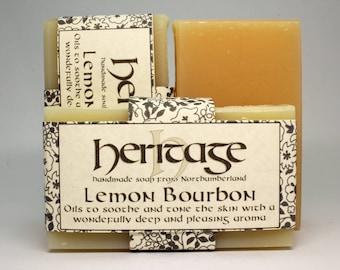Lemon Bourbon Handmade Soap bar. Deep yet refreshing aroma. Luxury Soap bar. Lemongrass and Geranium Bourbon.