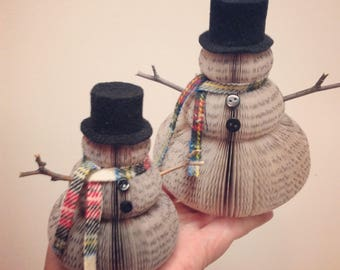 Two SMALL book page snowman/book club gift exchange/winter wedding/upcycled books/unique Christmas decor