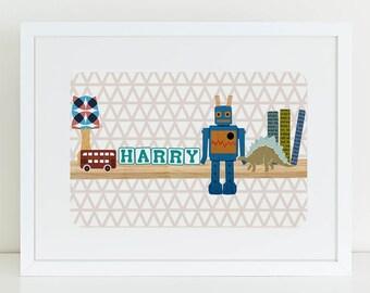 Children's custom name Toy Shelf wall art print. Nursery art. Boy's bedroom. Gifts for new babies. Personalised name art. Christening.