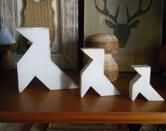 wooden origami cranes