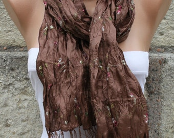 Brown Floral Embroidered Scarf,wedding Shawl Cowl Scarf Teacher gif,Gift For Her Women Fashion Acessories bridesmaid gift Bridal Accessories