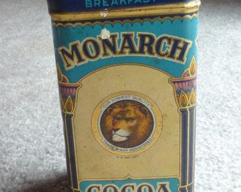 vintage monarch cocoa tin