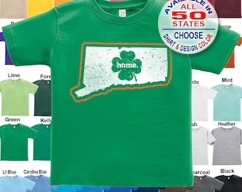 Connecticut Home State Irish Shamrock T-Shirt - Boys / Girls / Infant / Toddler / Youth sizes