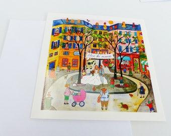 carte Vive les mariés mariage place du village carte carré avec enveloppe