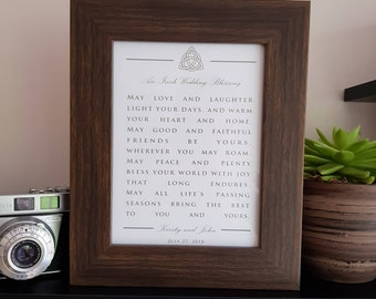 An Irish Wedding Blessing - 8x6 Custom Print in Oak Frame - Personalised names and date
