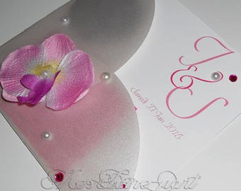 Personalized Orchid wedding invitation
