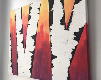 Birch at Sunset Tree Painting