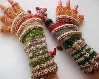 Women Size L 20% OFF Ready To Ship Half Fingers Wool Mittens Wrist Warmers Men Winter Unisex Gloves Hand Knitted Striped Multicolor Arm 1277