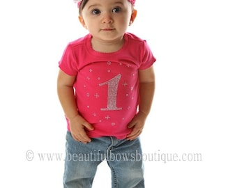 1st Birthday 1 Year Rhinestone Shirt Baby Toddler Girl-CHOOSE SHIRT COLOR