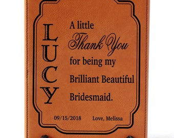 Gift for Bridesmaids - Maid of Honor Gifts - Bridesmaid Personalized Wedding Thank You Gift - Plaque, LPW001