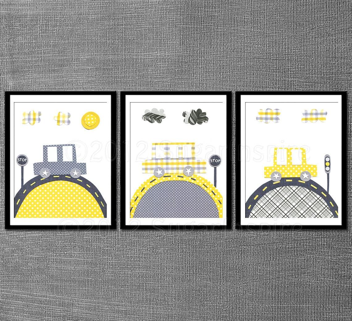 Yellow Kids Room Decor: Yellow And Grey Baby Room Decor Nursery Art Print Set Kids