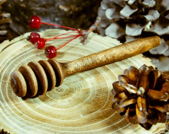 Wooden Honey Dipper Stick for Honey Jar whith Handle Mixing Useful Bee Honey #D3