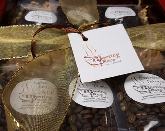 Gourmet Coffee Sampler Gift Basket, gift set of 6 gourmet coffees, Christmas Gift, Holiday gift, corporate gift, Coffee Gift Set